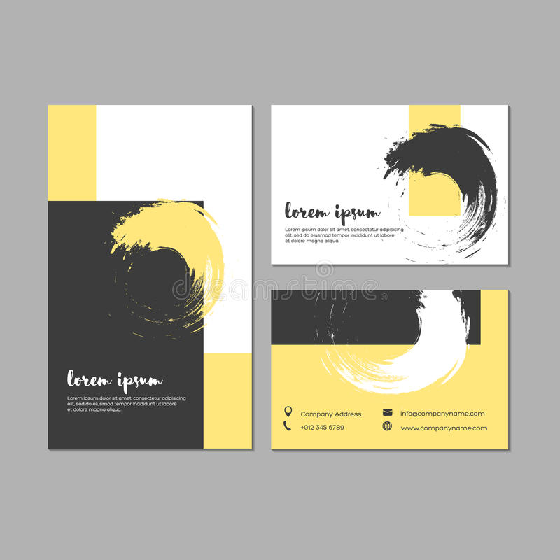 Set Of Grunge Business Cards With Geometric Shapes And Hand Draw ...