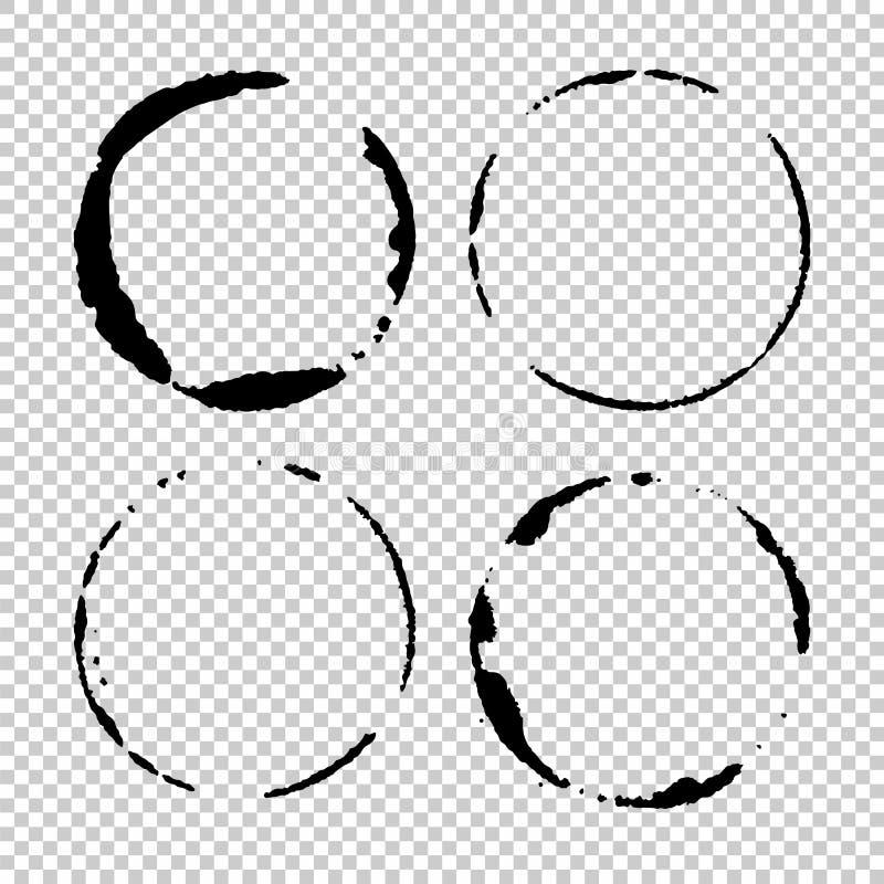 Set of  grunge circle brush strokes stock illustration