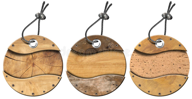 Set of Grunge Circular Wooden Tags - 3 items stock illustration