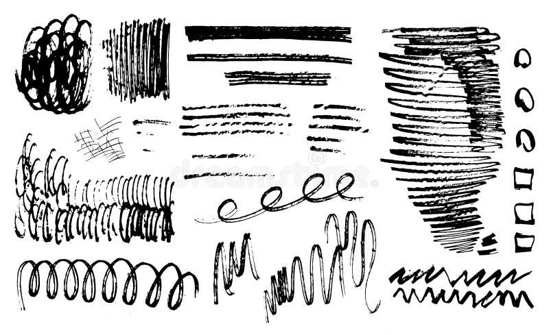 Set grunge elementy dla projekta Różne tekstury i uderzenia dla dekoraci również zwrócić corel ilustracji wektora ilustracji