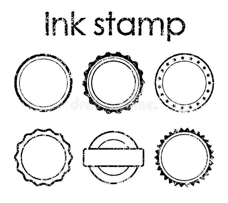 Set Grunge för rubber stämpel stock illustrationer