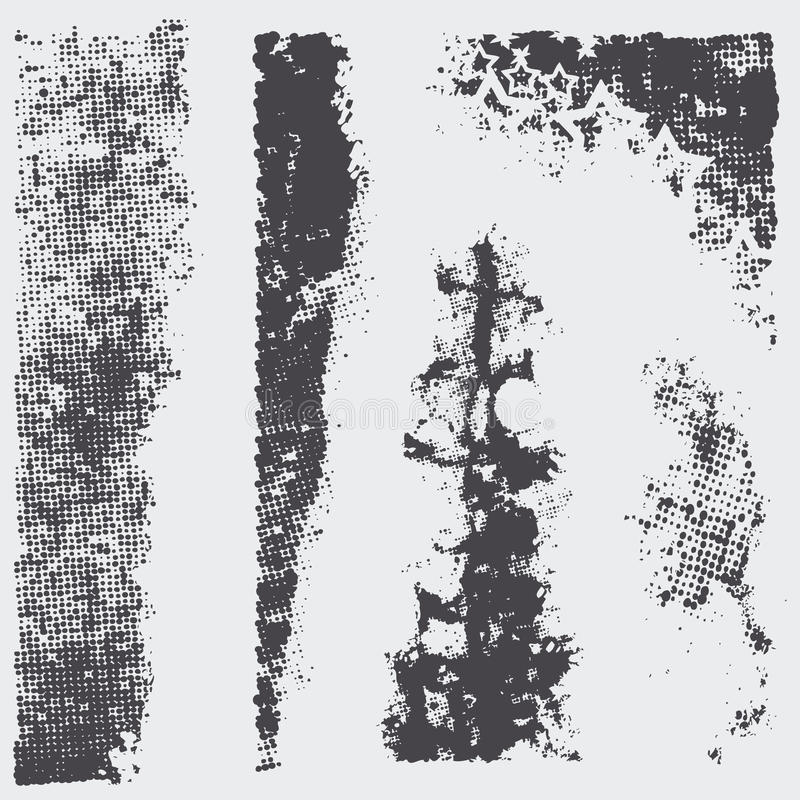 Set grunge halftone textures vector illustration