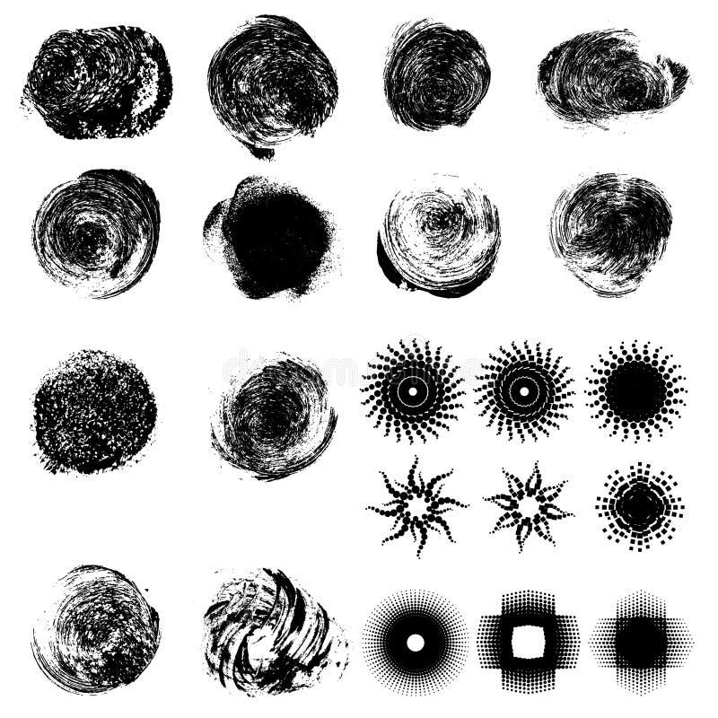 Set of grunge hand drawn circles royalty free illustration