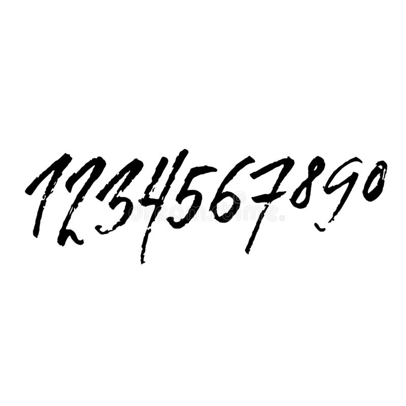 Set of grunge handdrawn numbers. Modern dry brush lettering. Vector illustration. stock images