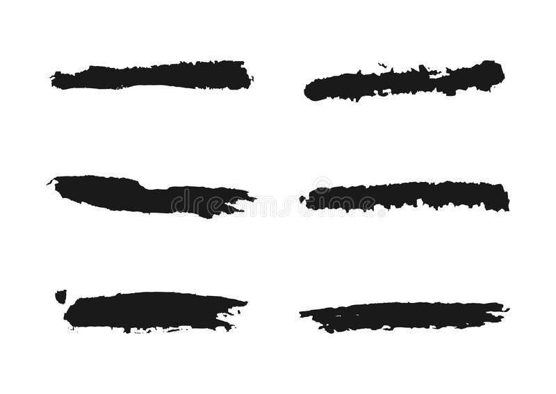Set of grunge line. Ragged brush. Collection of isolated elements vector illustration