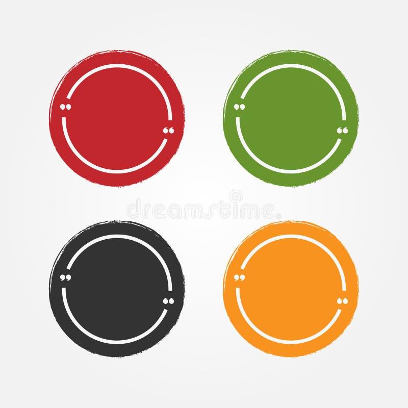 Set grunge majchery dla cytacj Round rama dla teksta z wycena i tło Farba, atrament, nakreślenie, akwarela ilustracja wektor
