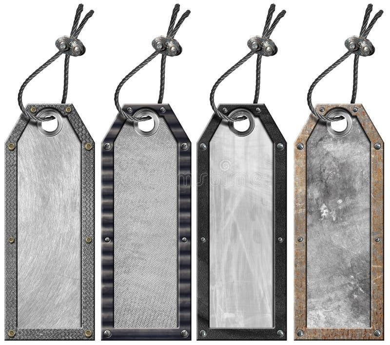 Set Grunge Metall etikettiert - 4 Felder stock abbildung