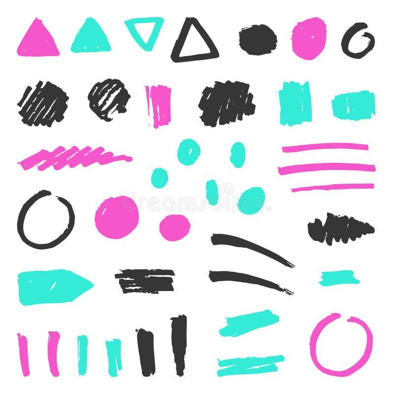 Set of grunge objects. Vector hand drawn illustration royalty free illustration