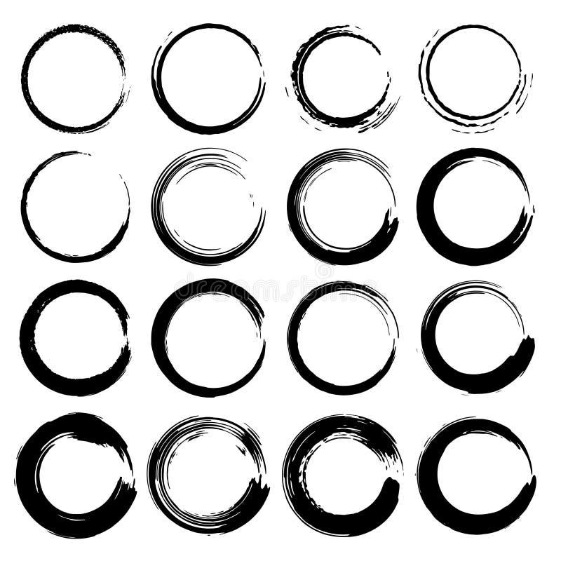Set grunge okręgi, Grunge round kształty ilustracji