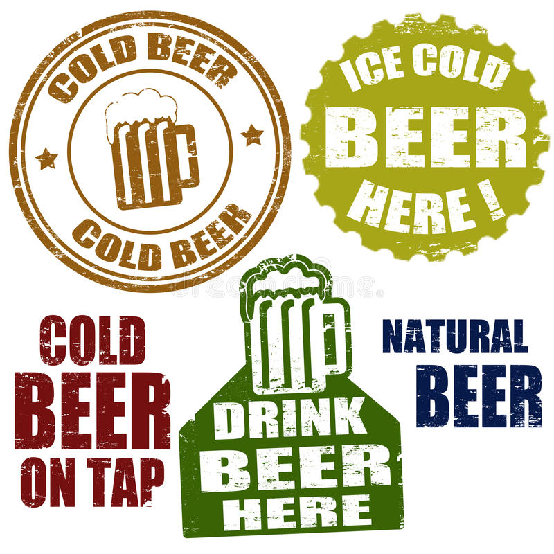 Zimnego piwa znaczki royalty ilustracja