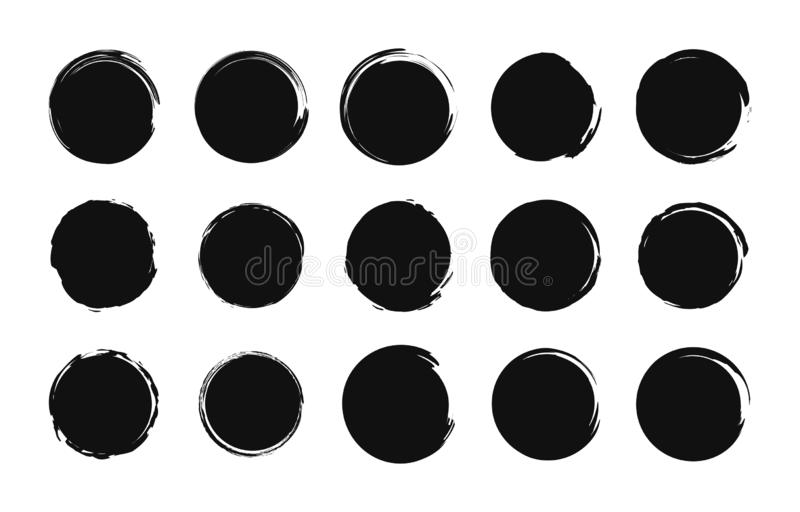 Set of grunge post stamps. Sale tags. Shopping. Round banners, boxes, frames, logos, icons, labels, badges. Brush circle. Vector stock illustration