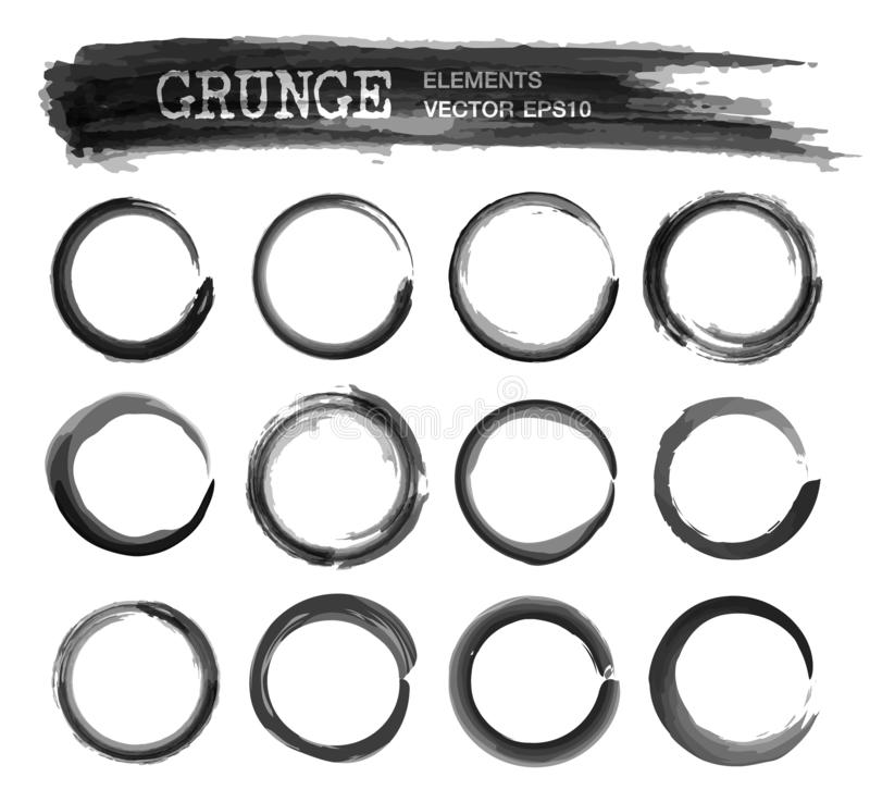 Set of grunge realistic black color ink watercolor painting circle frame design . Enso zen sphere style . Elements vector stock illustration