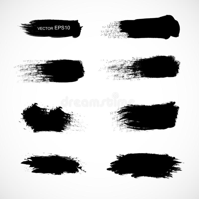 Set grunge Schwarzfahnen ENV 10 Kein Transparent Keine Steigungen vektor abbildung