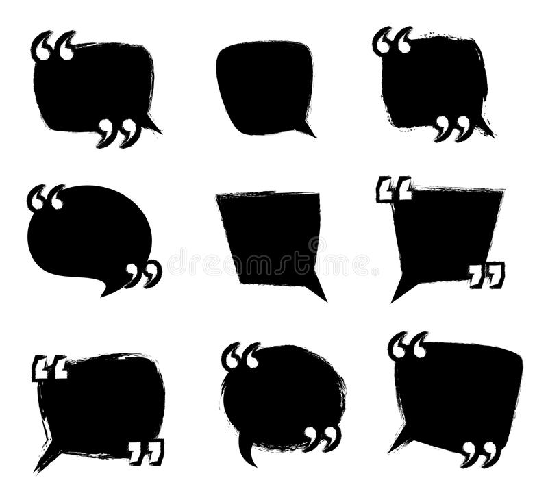 Set of grunge speech bubbles with quotation marks, quote concept. Collection of grunge speech bubbles with quotation marks, quote concept stock illustration