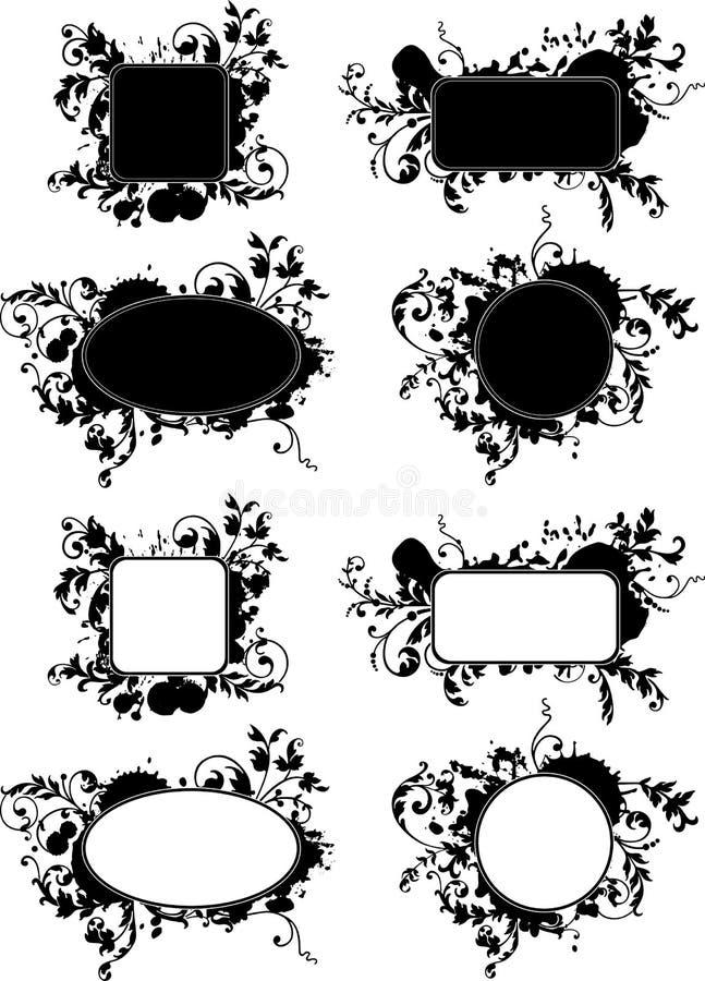 Set of grunge splash backgrounds. stock illustration