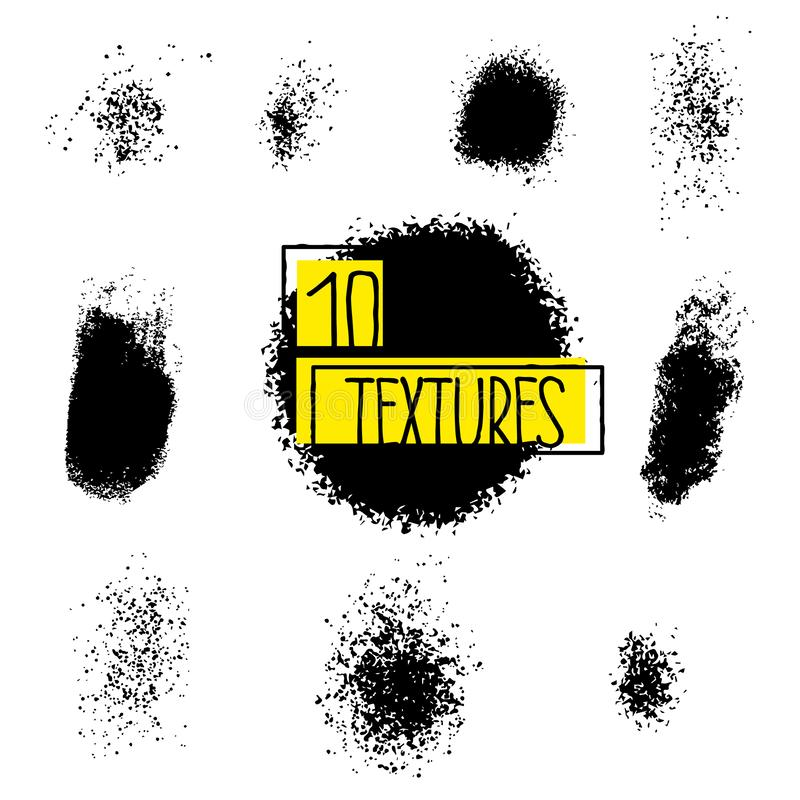 Set of grunge spots in black color. Abstract vector splashes on white background. stock illustration