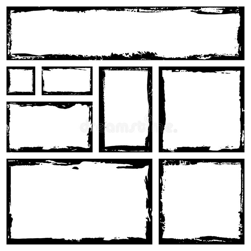 Set of grunge square frames. Empty border background. Hand draws black and white ink. royalty free illustration