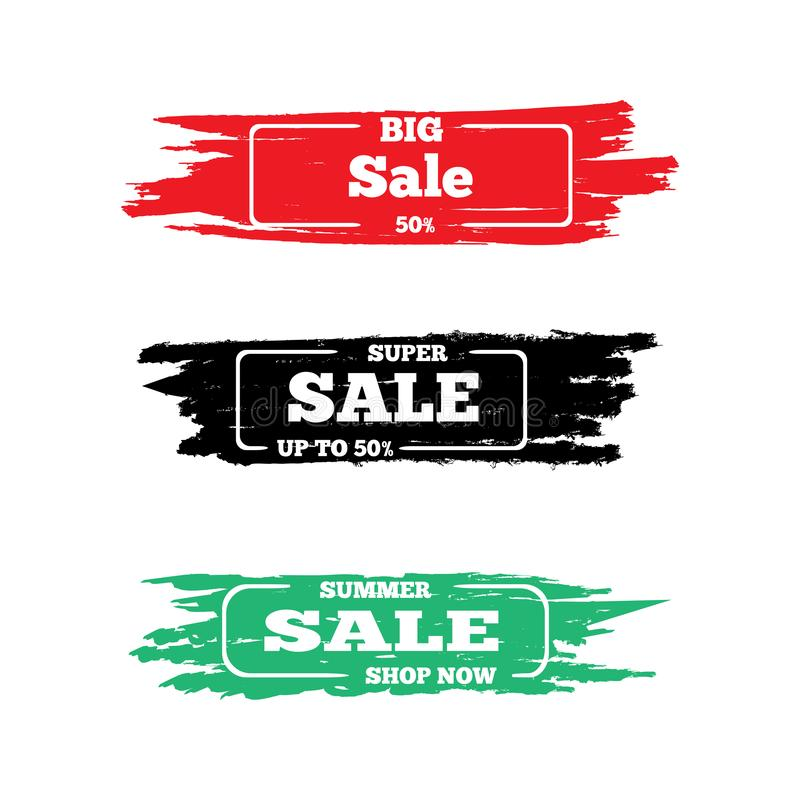 Set of grunge stickers for sale. Graffiti, paint, watercolor. Collection of advertising design. Vector illustration. royalty free illustration