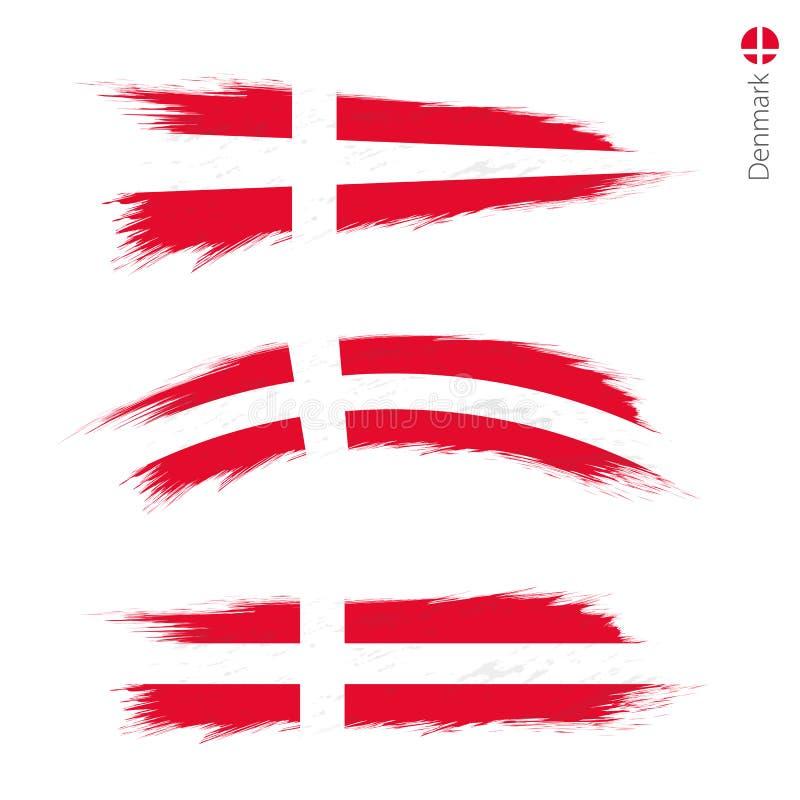 Set of 3 grunge textured flag of Denmark vector illustration