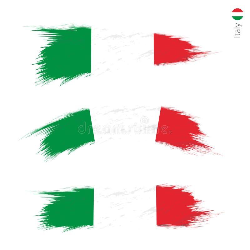 Set of 3 grunge textured flag of Italy stock illustration