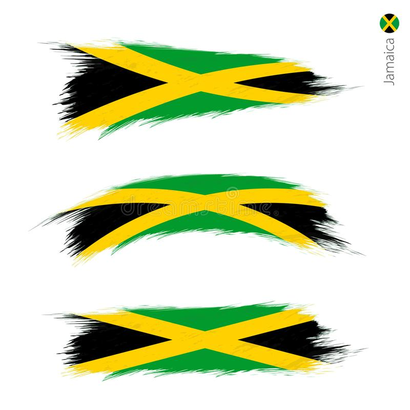 Set of 3 grunge textured flag of Jamaica. Three versions of national country flag in brush strokes painted style. Vector flags stock illustration