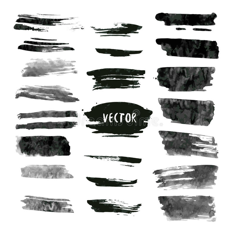 Set of grunge vector and ink strokes. Abstract design elements collection. Hand drawn smears stock illustration