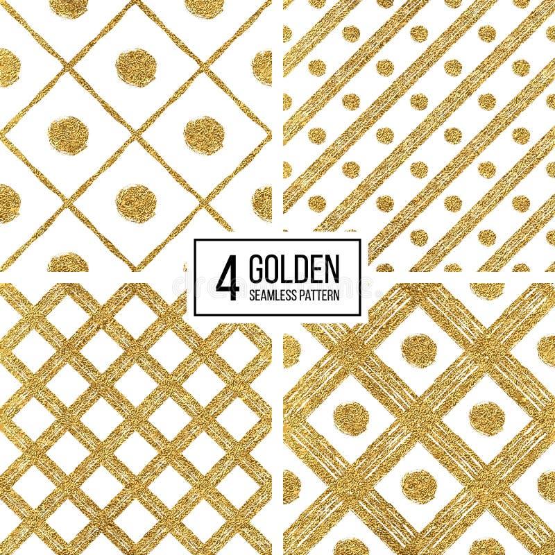 Set grunge złota srebra przekątny bezszwowi deseniowi lampasy i okrąg royalty ilustracja