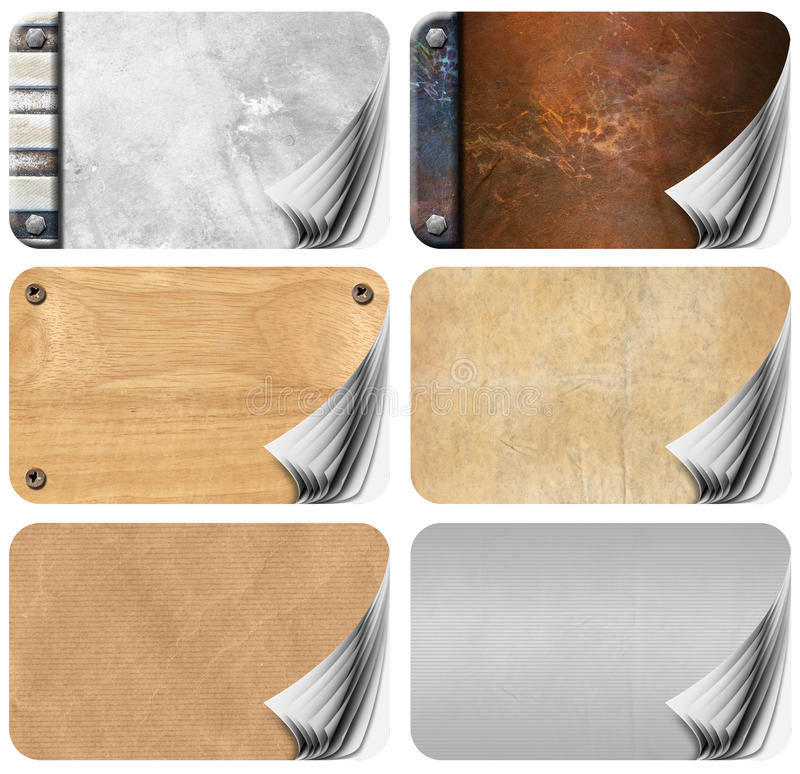 Set Of Grungy Business Cards Pages Backgrounds Stock Illustration ...