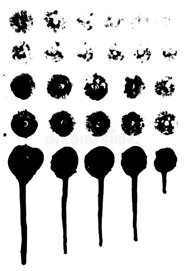 Set of grungy paint drips. Vector royalty free illustration