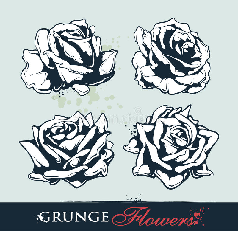 Set Of Grungy Roses Stock Photos
