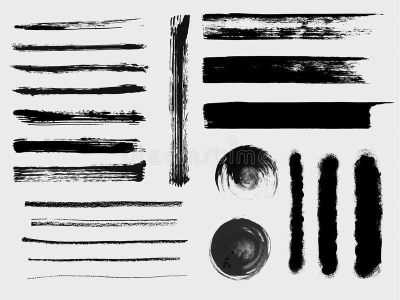 Set of grungy vector brushes royalty free illustration