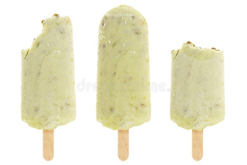 Set gryźć zielony Mung fasoli popsicle odizolowywający na białym tle obraz royalty free