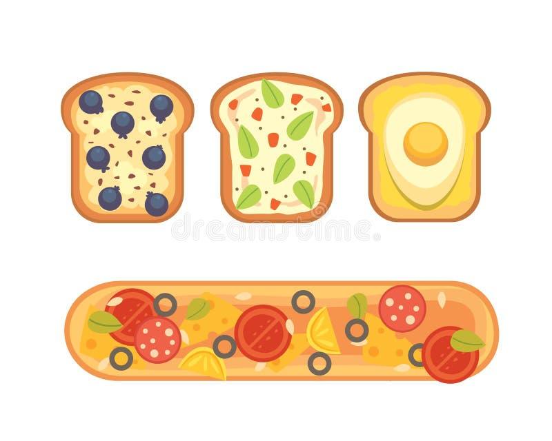 Set grzanki i kanapki śniadaniowa Chlebowa grzanka z dżemem, jajko, ser, czarna jagoda, masło orzechowe, salami, ryba mieszkanie royalty ilustracja