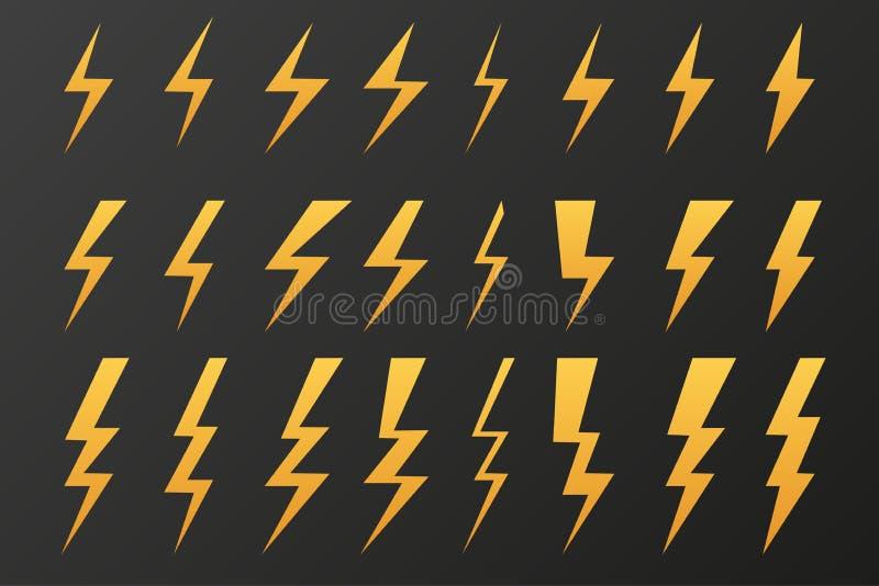 Set grzmot błyśnie ciemnego tło wektor ilustracji