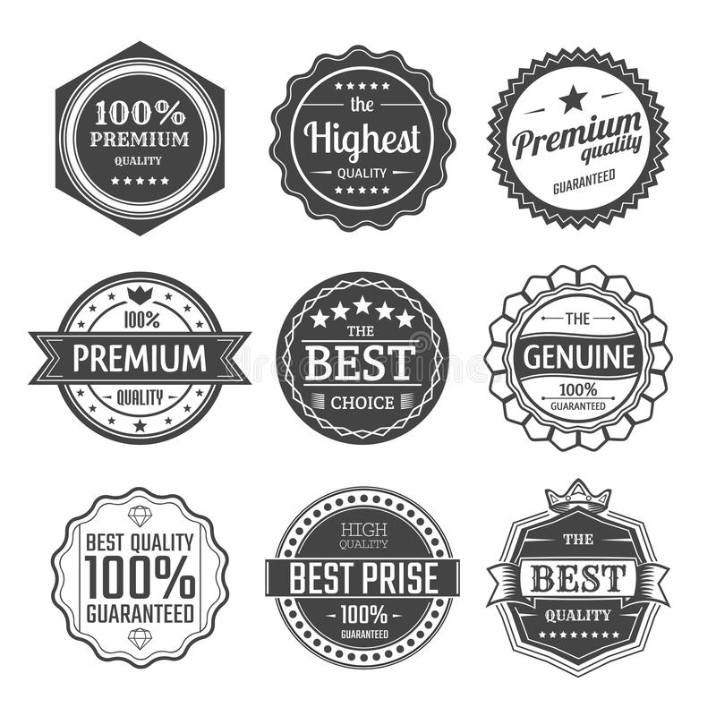 Set of guarantee and premium quality labels. royalty free stock photos