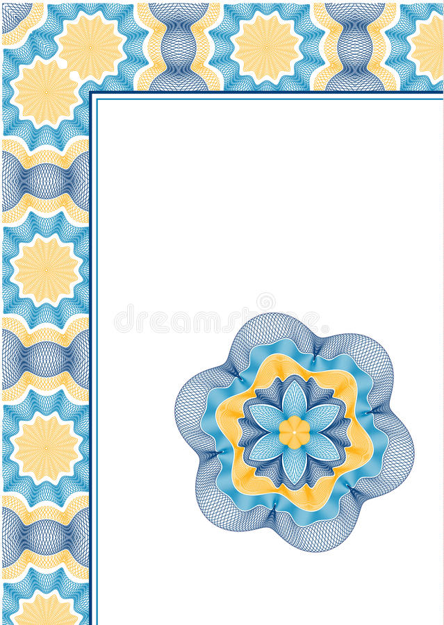 Set of guilloche frame and rosette vector illustration