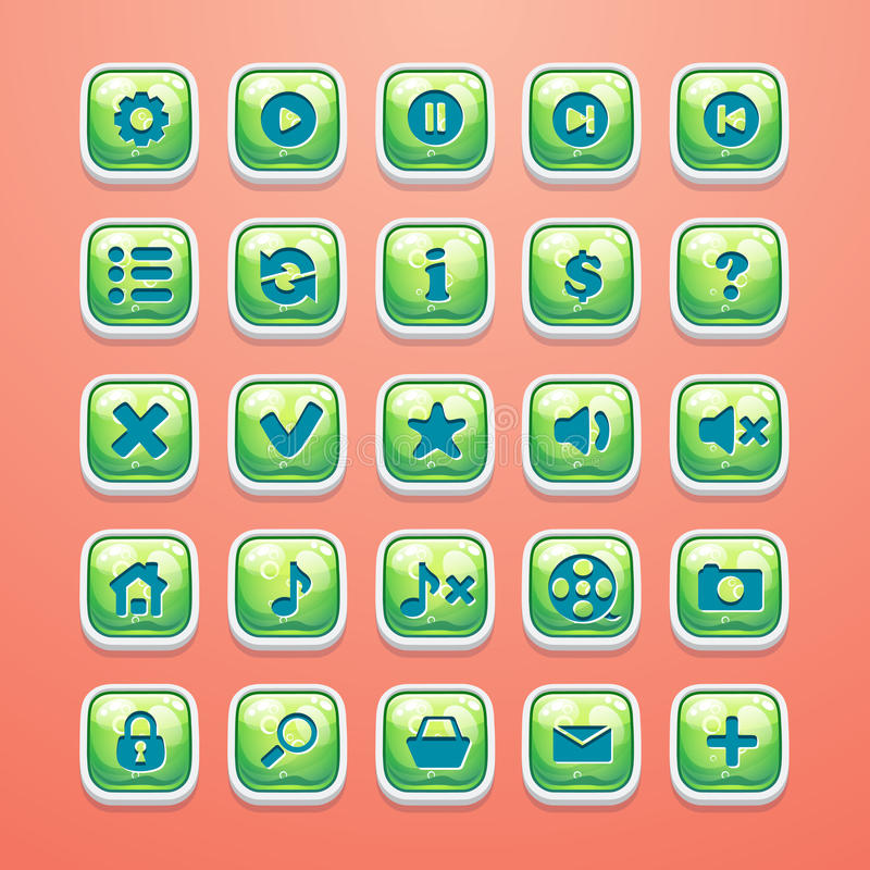 Set guziki dla wspaniałego gemowego interfejsu i sieć projekta ilustracji