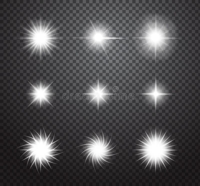 Set gwiazdy i błyska wektorowych światło skutki royalty ilustracja