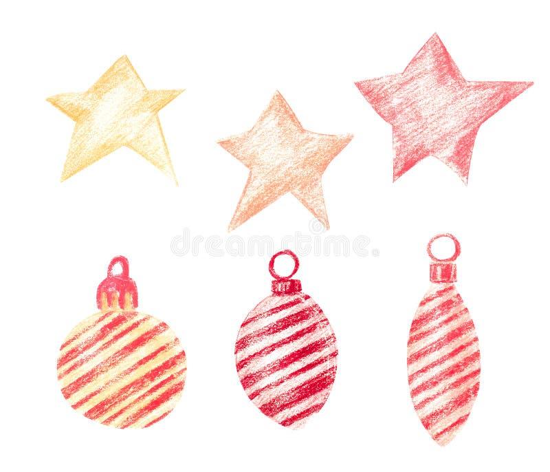 Set gwiazdy i boże narodzenie ornamenty ilustracja wektor