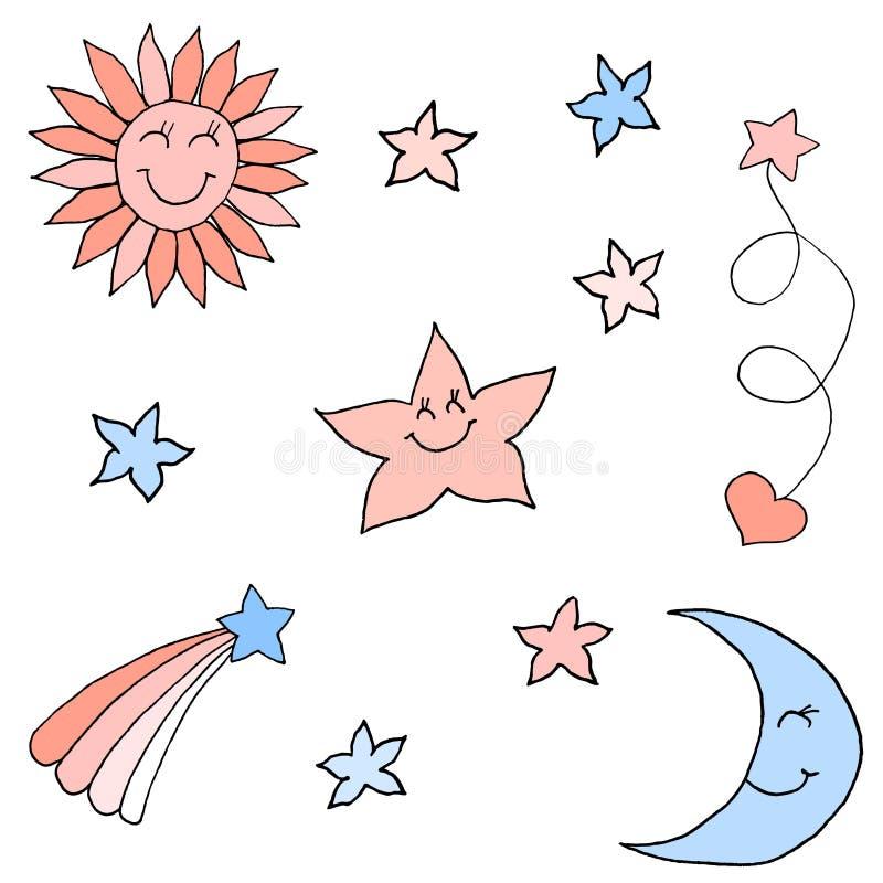 Set gwiazdy w niebie Kolorowy ręka rysunku nakreślenie Czarny kontur na bia?ym tle r?wnie? zwr?ci? corel ilustracji wektora ilustracji