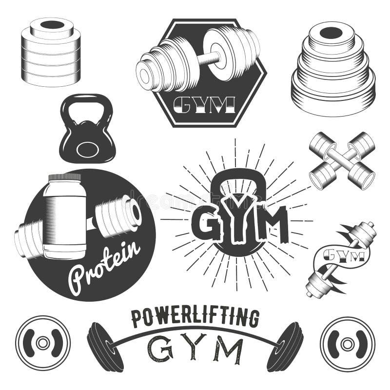 Set gym etykietki w retro stylu Bawi się emblematy, odznaki i logów dla projekta sprawności fizycznej, również zwrócić corel ilus ilustracja wektor