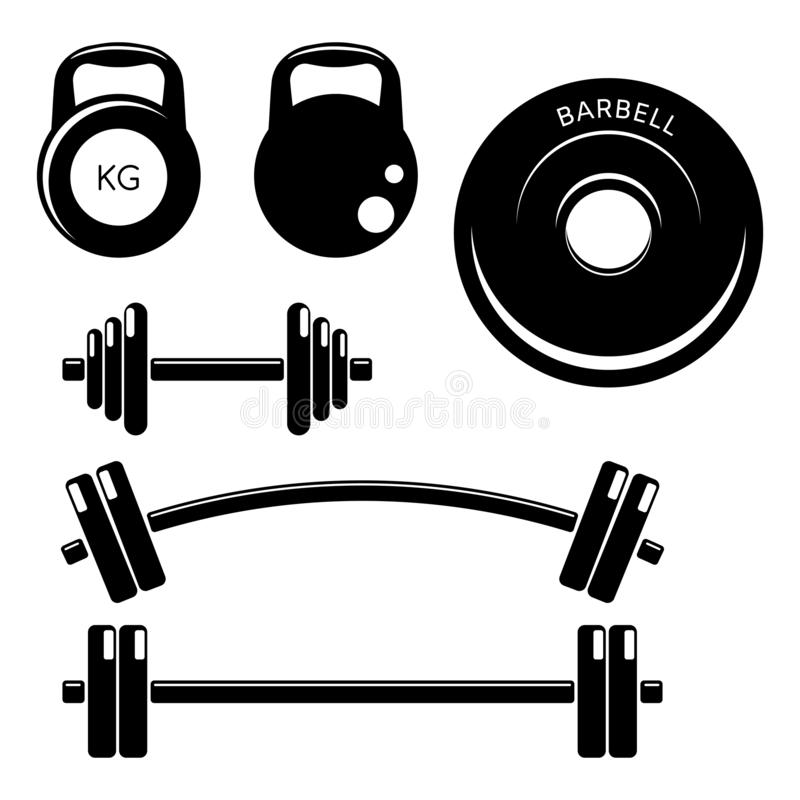 Set gym fitness weights elements. Silhouette icons style. Kettle bells, barbells and dumbbells royalty free illustration