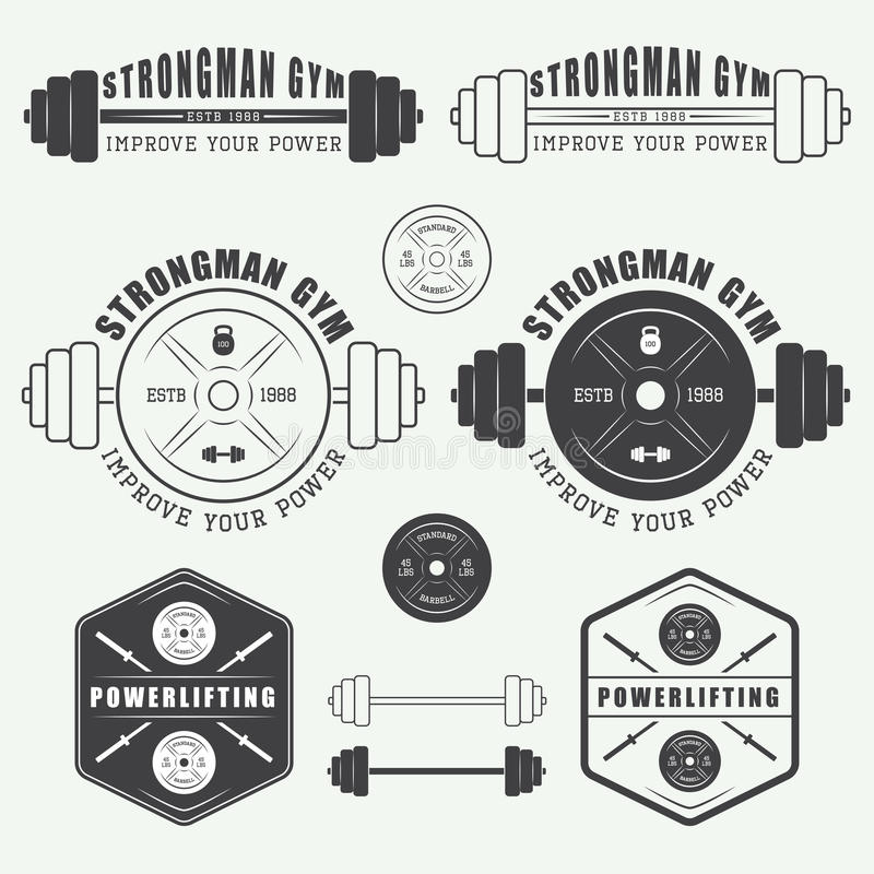 Set of gym logo, labels,badges and elements in vintage style. Set of gym vector logo, labels,badges and elements in vintage style stock illustration