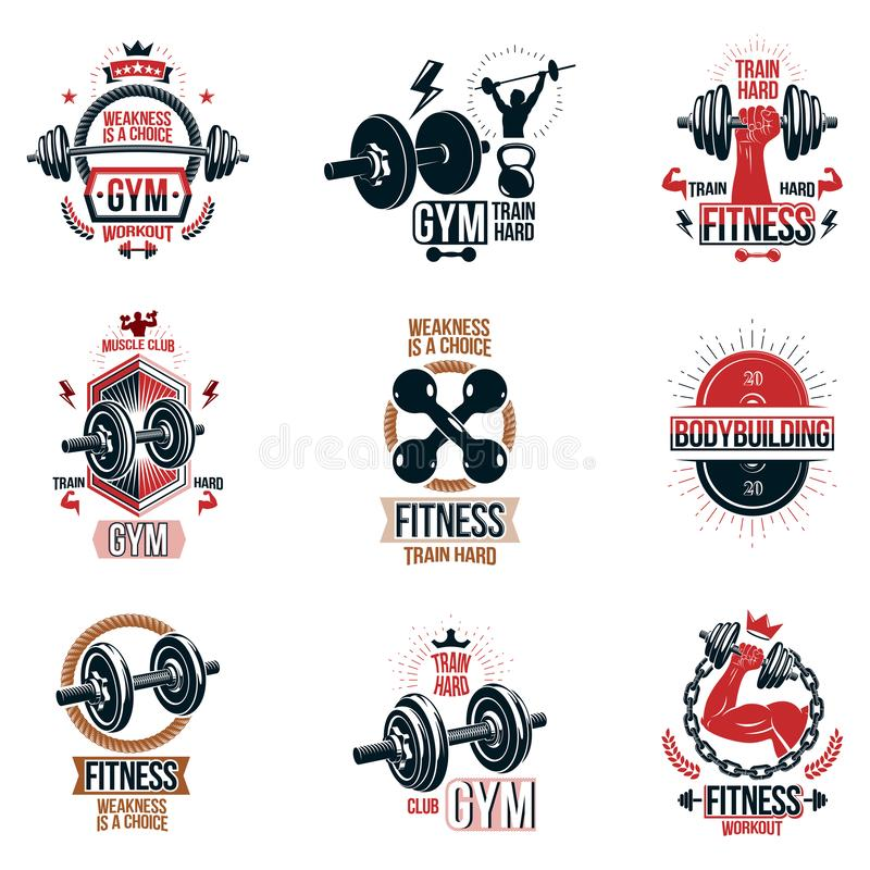 Set of  gym theme emblems and motivational banners compose stock illustration