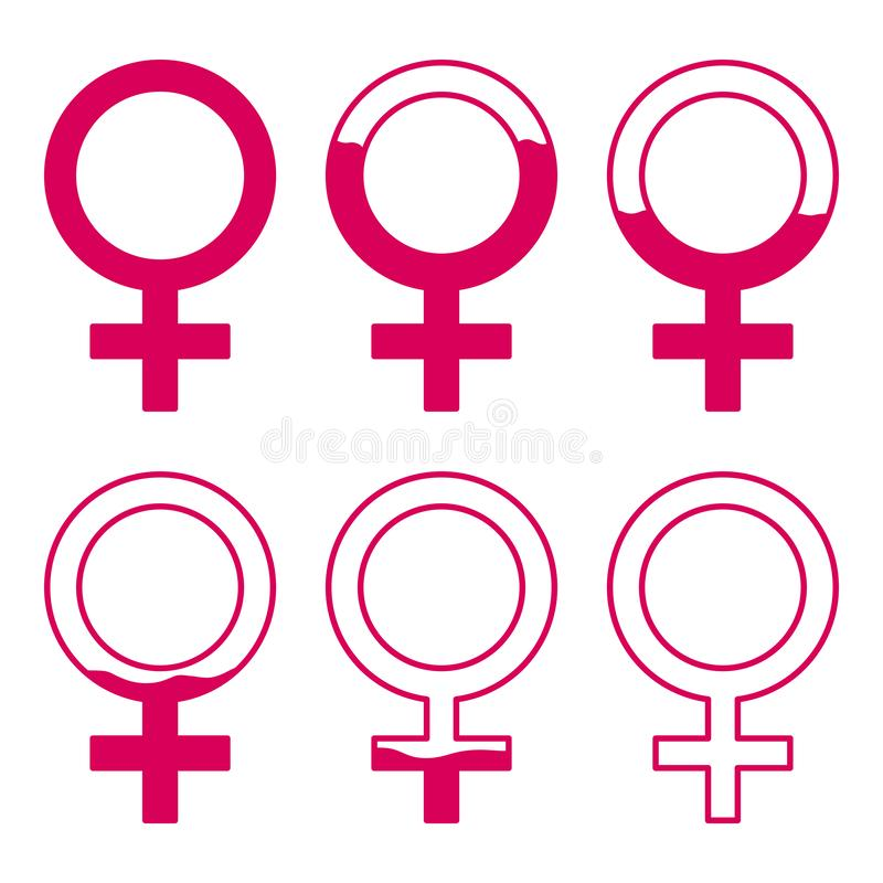 Set of gynecology icon with filled blood in pink color. Start and finish period. Concept of menstruation period, pregnancy or menopause. Vector illustration in royalty free illustration