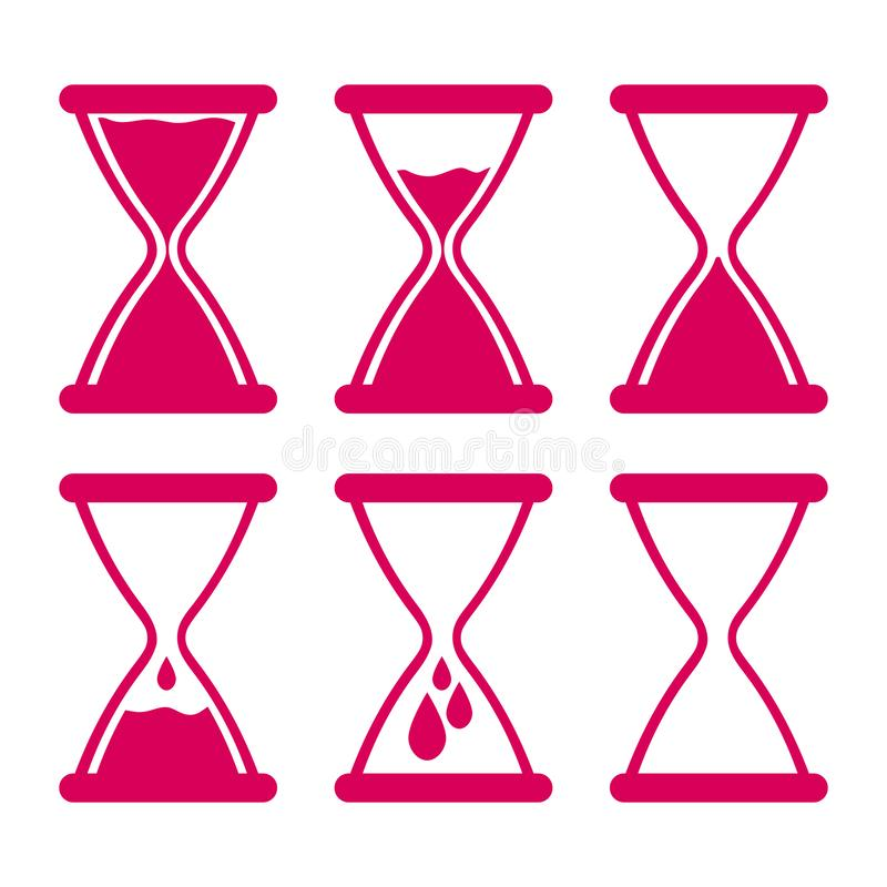 Set of gynecology icon with hourglass filled with blood in pink color. Start and finish period. Concept of menstruation period, pregnancy or menopause. Vector royalty free illustration