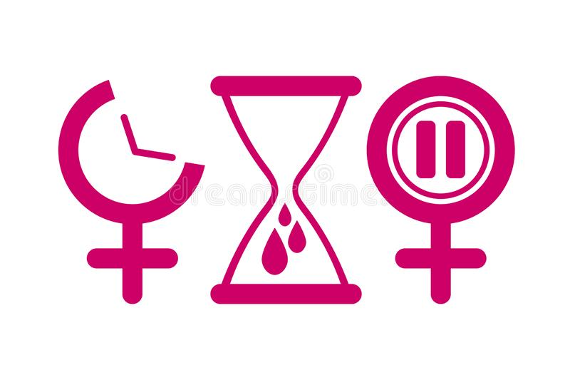 Set of gynecology icon in pink color. Concept of menstruation period, pregnancy or menopause. Vector illustration in flat style vector illustration