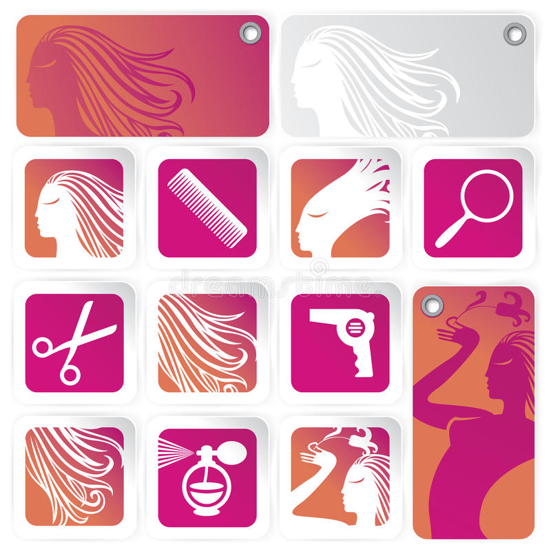 Set for the hair salon. With a profile of a girl, and tools for cutting vector illustration