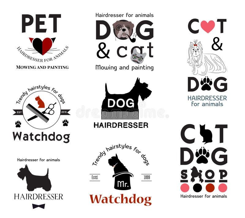 Set hair salon for animals logo, labels, badges and design element. Set of retro barber dog shop logo, labels, badges and design element. Vector pet shop
