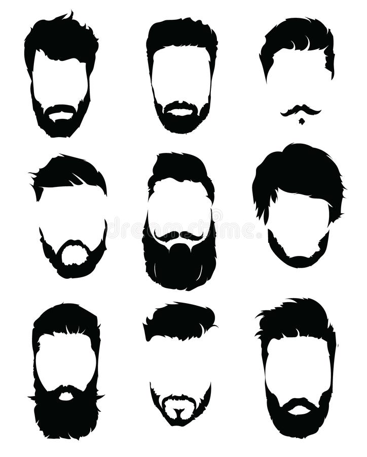 Set Of Hairstyles For Men Collection Of Black Silhouettes Of Hairstyles And Beards Vector Illustration For Hairdresser Stock Vector Illustration Of Fashion Portrait 105769442
